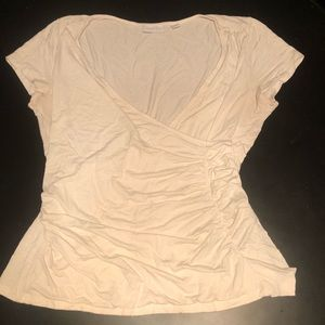 NY&Co Cream Colored Ruched Tee with Ruffle Detail